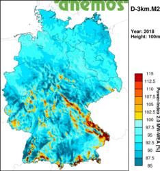 Ertragsindex für das Jahr 2008<br /> © anemos Gesellschaft für Umweltmeteorologie mbH