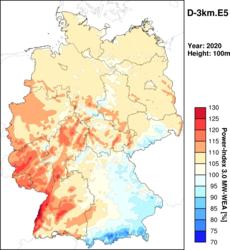 """Ertragsindex für Deutschland 3km (Jahresindex 2020), entnommen aus dem """"Wind- und Ertragsindex Report für das Jahr 2020""""<br /> © anemos Gesellschaft für Umweltmeteorologie mbH"""