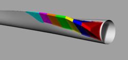 """Der Hinterkantenspoiler """"EvoFlap"""" für den Blattwurzelbereich, unterteilt in 7 Segmente.<br /> © Evoblade"""