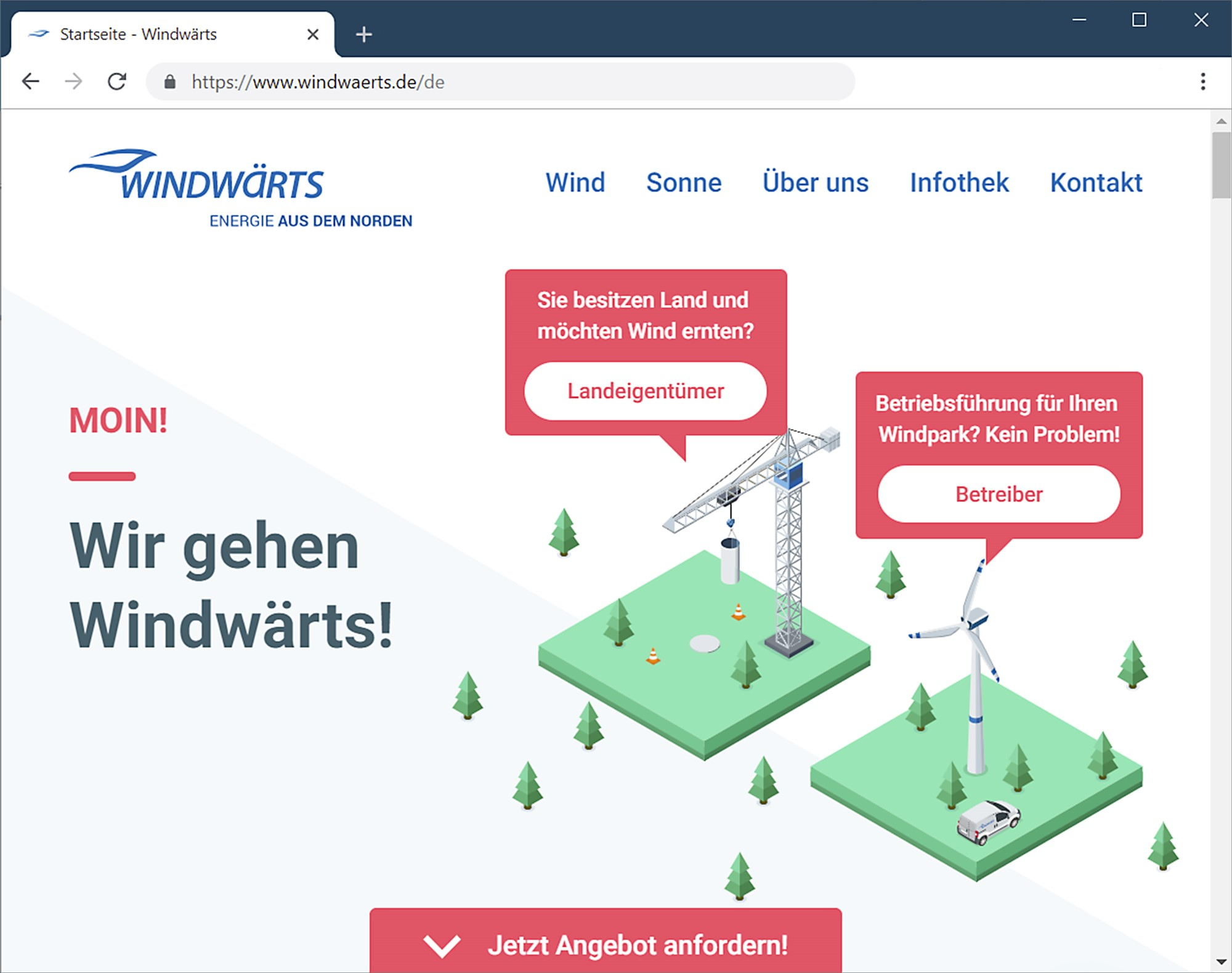 Moin! Windwärts präsentiert neue Unternehmens-Website